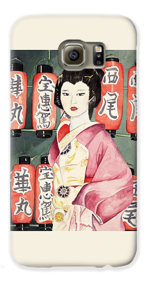 Geisha In Kimono With Red Lanterns Galaxy S6 Case featuring the painting Miss Hanamaru At Osaka Festival by Judy Swerlick