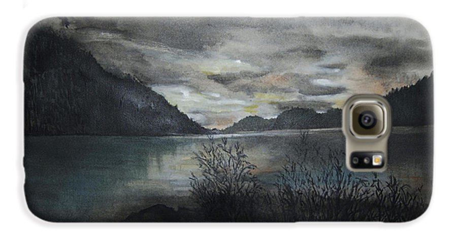 Sunset Galaxy S6 Case featuring the painting Missezula Lake Sunset by Susan Moore