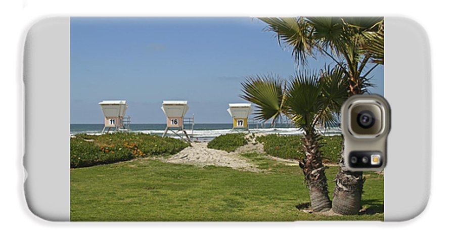 Beach Galaxy S6 Case featuring the photograph Mission Beach Shelters by Margie Wildblood