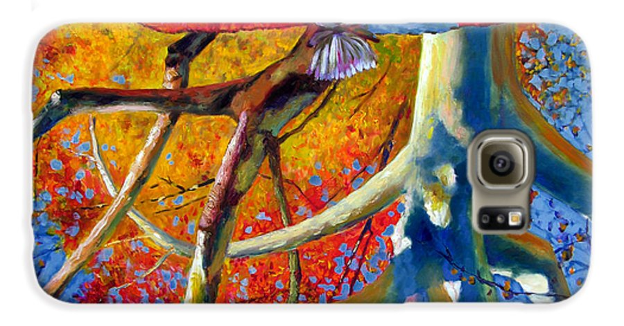 Garden Pond Galaxy S6 Case featuring the painting Missouri Sycamore Reflections by John Lautermilch