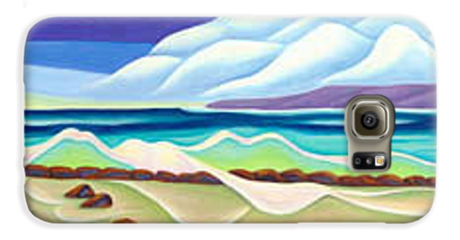 Landscape Galaxy S6 Case featuring the painting Moana Kai Surf by Lynn Soehner