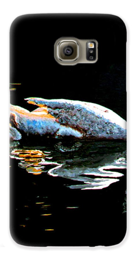 Swan Galaxy S6 Case featuring the painting Mom And Baby Swan by Stan Hamilton
