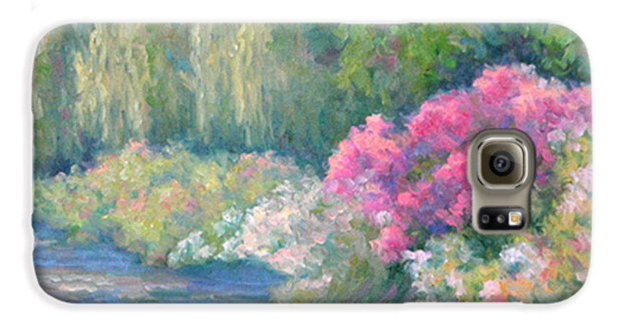 Pond Galaxy S6 Case featuring the painting Monet's Pond by Bunny Oliver