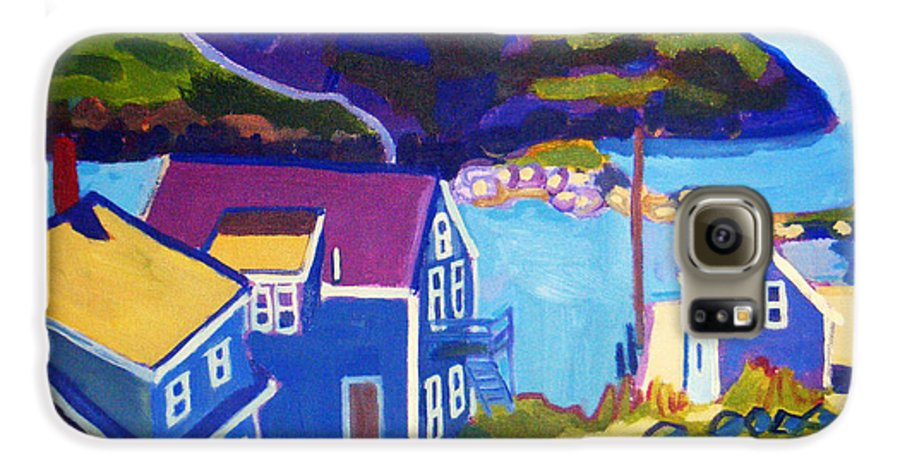 Seascape Galaxy S6 Case featuring the painting Monhegan Harbor by Debra Bretton Robinson