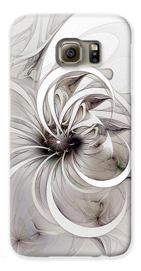 Digital Art Galaxy S6 Case featuring the digital art Monochrome Flower by Amanda Moore