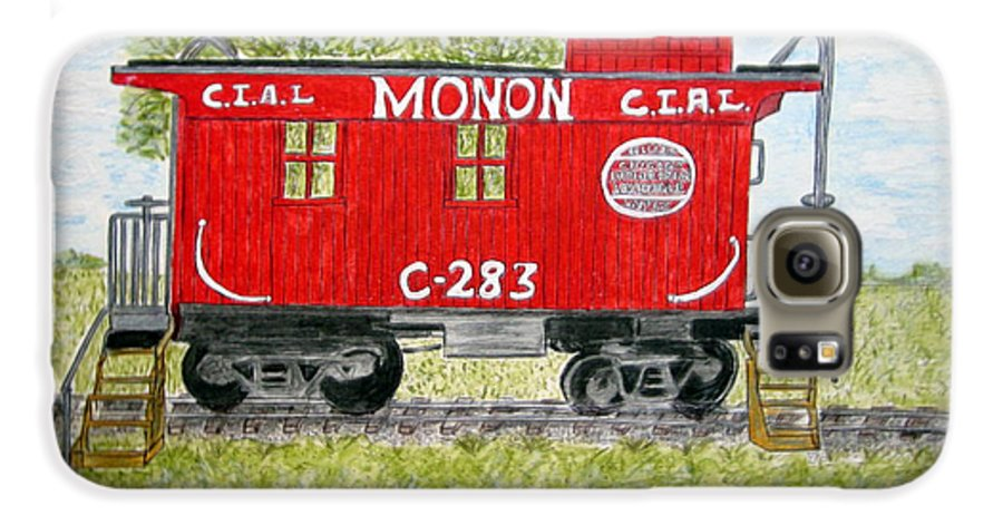 Monon Galaxy S6 Case featuring the painting Monon Wood Caboose Train C 283 1950s by Kathy Marrs Chandler