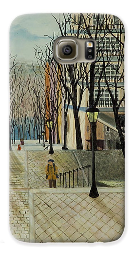 Paris Galaxy S6 Case featuring the painting Montmartre Steps In Paris by Susan Kubes