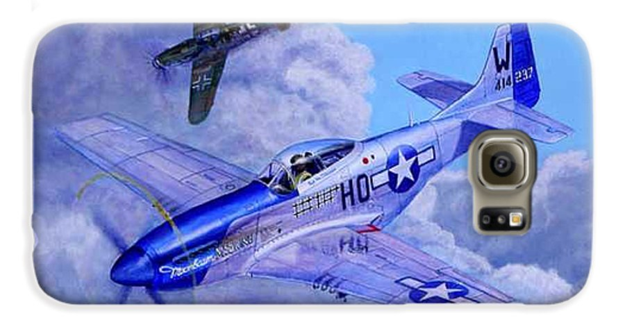 Capt Bill Wisner Shoots Down Two Bf-109s On November 2nd 1944 Galaxy S6 Case featuring the painting Moonbeam Mcswine by Scott Robertson
