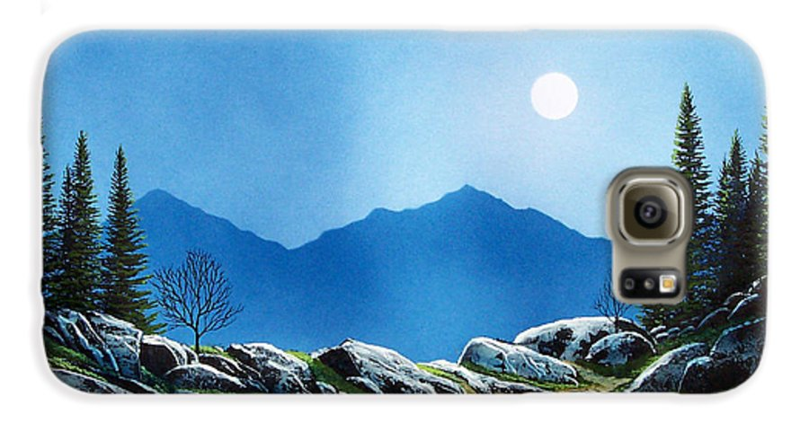 Landscape Galaxy S6 Case featuring the painting Moonlight Hike by Frank Wilson
