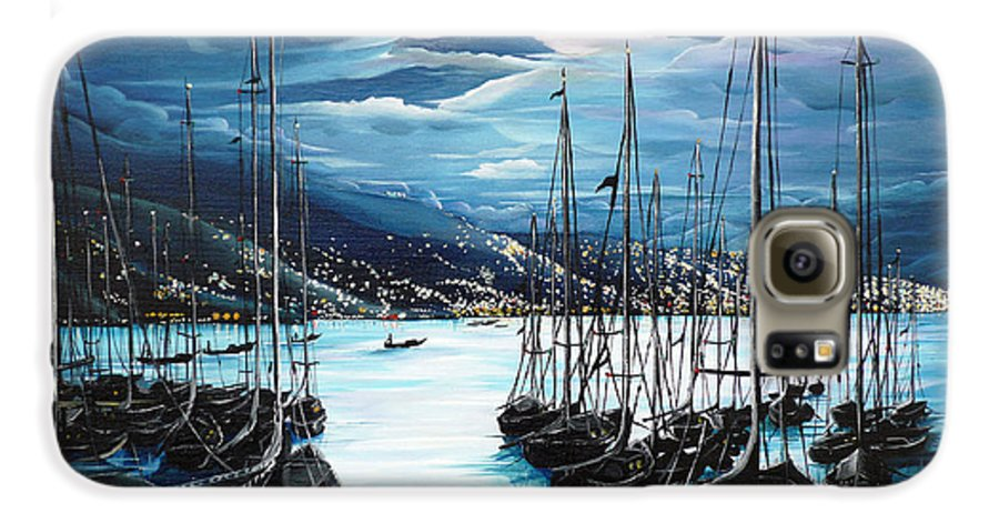 Ocean Painting  Caribbean Seascape Painting Moonlight Painting Yachts Painting Marina Moonlight Port Of Spain Trinidad And Tobago Painting Greeting Card Painting Galaxy S6 Case featuring the painting Moonlight Over Port Of Spain by Karin Dawn Kelshall- Best