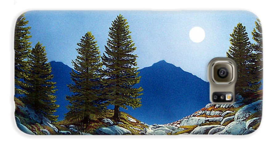 Landscape Galaxy S6 Case featuring the painting Moonlit Trail by Frank Wilson