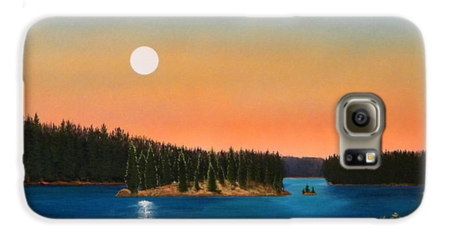 Landscape Galaxy S6 Case featuring the painting Moonrise Over The Lake by Frank Wilson