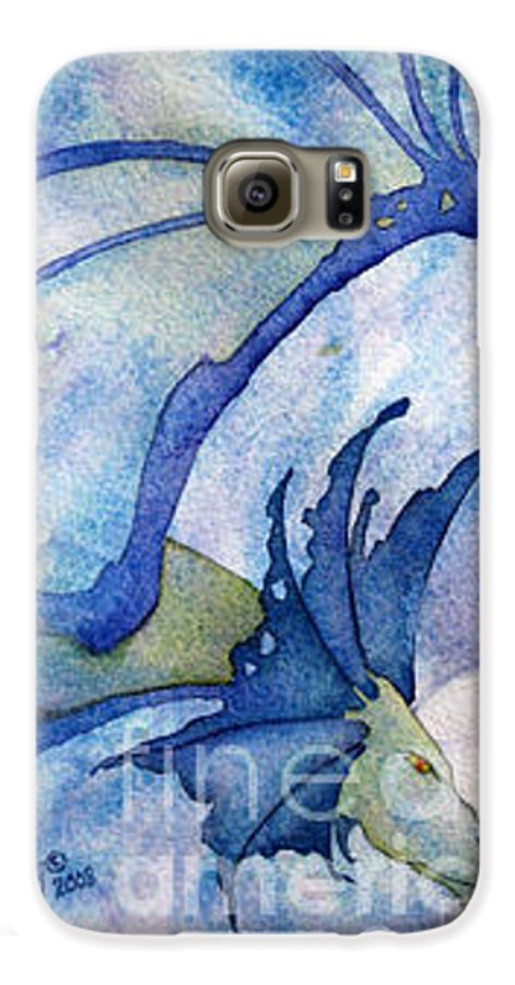 Dragon Galaxy S6 Case featuring the painting Moonstone Dragon - Sold by Wendy Froshay