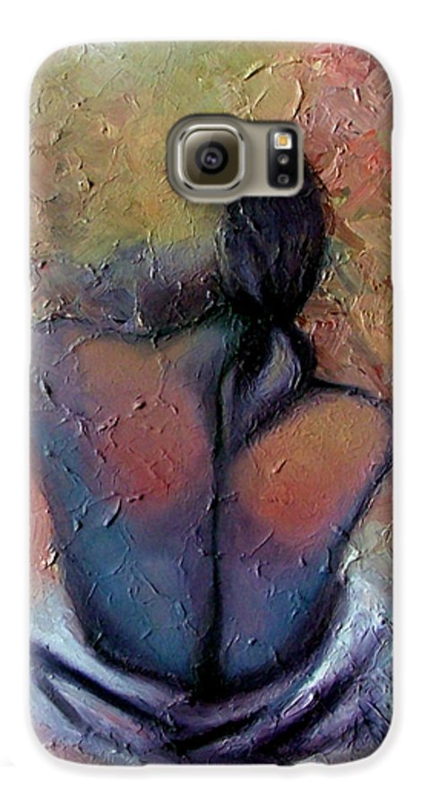 Abstract Galaxy S6 Case featuring the painting Morning Glow by Elizabeth Lisy Figueroa