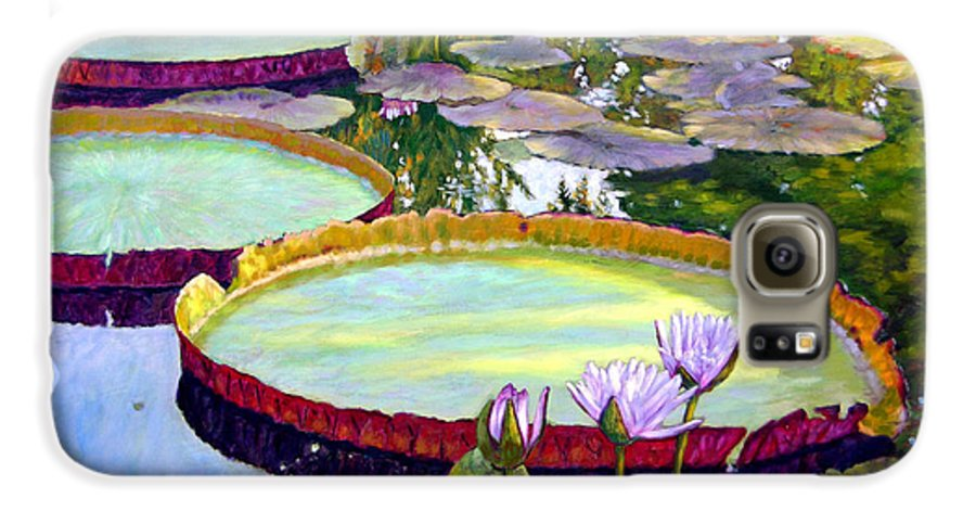 Garden Pond Galaxy S6 Case featuring the painting Morning Highlights by John Lautermilch