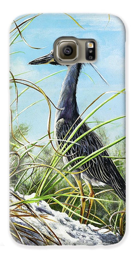 Bird Galaxy S6 Case featuring the painting Morning Hunt by Joan Garcia