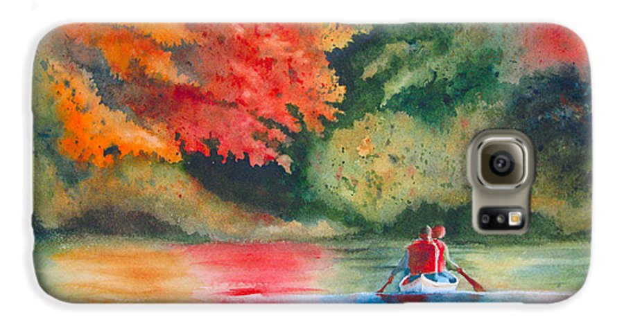 Lake Galaxy S6 Case featuring the painting Morning On The Lake by Karen Stark