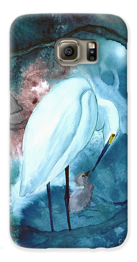 A Mother Egret With Her Chick- A Watercolor Painting Galaxy S6 Case featuring the painting Mother And Child by Mui-Joo Wee