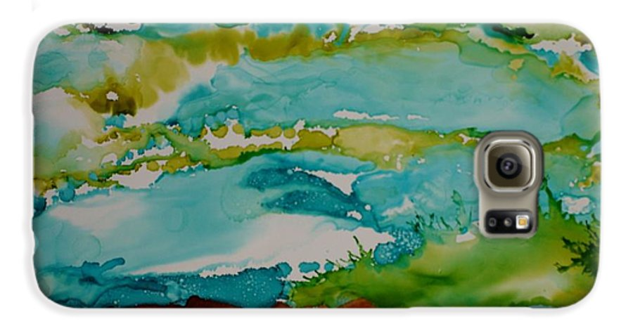 Wave Galaxy S6 Case featuring the mixed media Mother Ocean by Susan Kubes