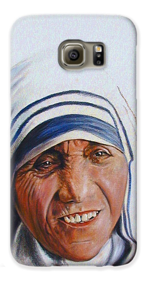 Mother Teresa Galaxy S6 Case featuring the painting Mother Teresa by John Lautermilch