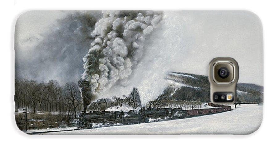Trains Galaxy S6 Case featuring the painting Mount Carmel Eruption by David Mittner