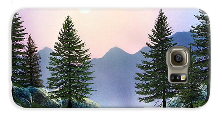Landscape Galaxy S6 Case featuring the painting Mountain Firs by Frank Wilson