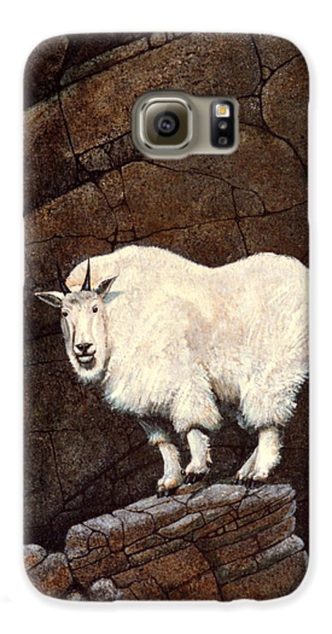 Wildlife Galaxy S6 Case featuring the painting Mountain Goat by Frank Wilson