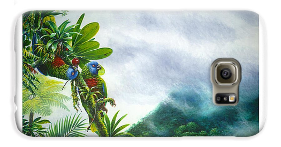 Chris Cox Galaxy S6 Case featuring the painting Mountain High - St. Lucia Parrots by Christopher Cox