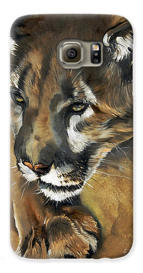 Southwest Art Galaxy S6 Case featuring the painting Mountain Lion - Guardian Of The North by J W Baker