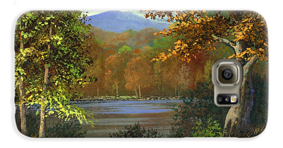 Landscape Galaxy S6 Case featuring the painting Mountain Pond by Frank Wilson