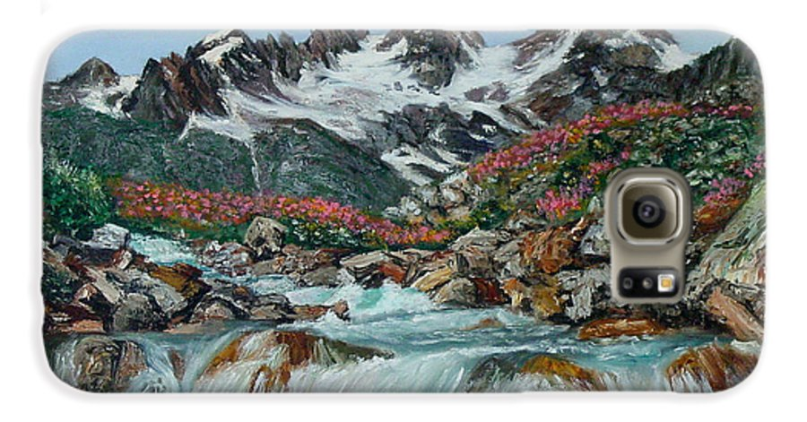 Mountain Galaxy S6 Case featuring the painting Mountain Stream by Quwatha Valentine
