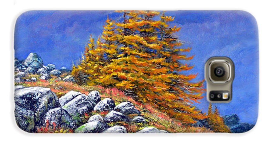 Mountains Galaxy S6 Case featuring the painting Mountain Tamaracks by Frank Wilson