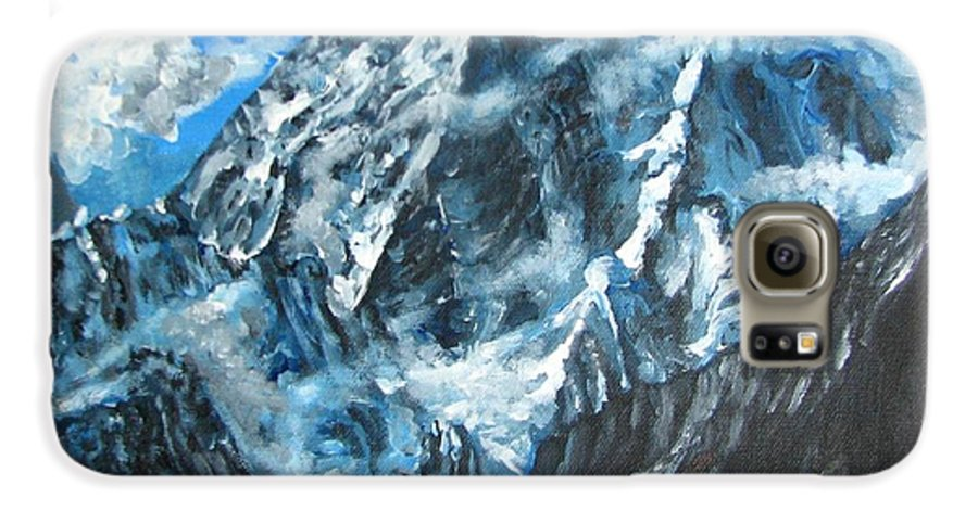 Mountains Galaxy S6 Case featuring the painting Mountains View Landscape Acrylic Painting by Natalja Picugina