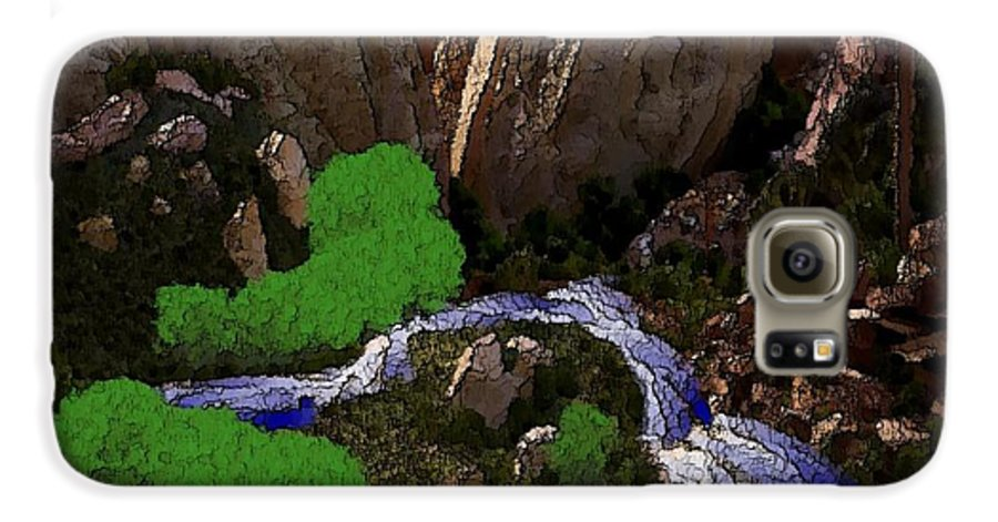 Stones.rocks.mountines.sky.cloud.bushes.river.water.flow. Galaxy S6 Case featuring the digital art Mountine River by Dr Loifer Vladimir