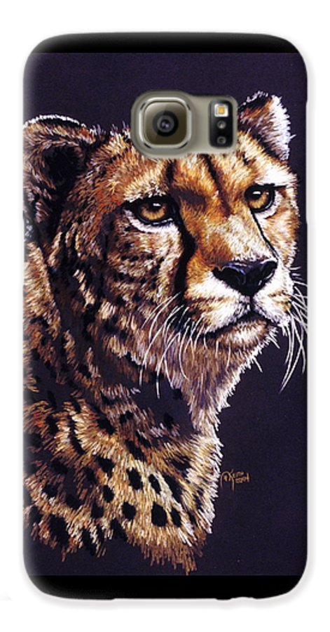 Cheetah Galaxy S6 Case featuring the drawing Movin On by Barbara Keith