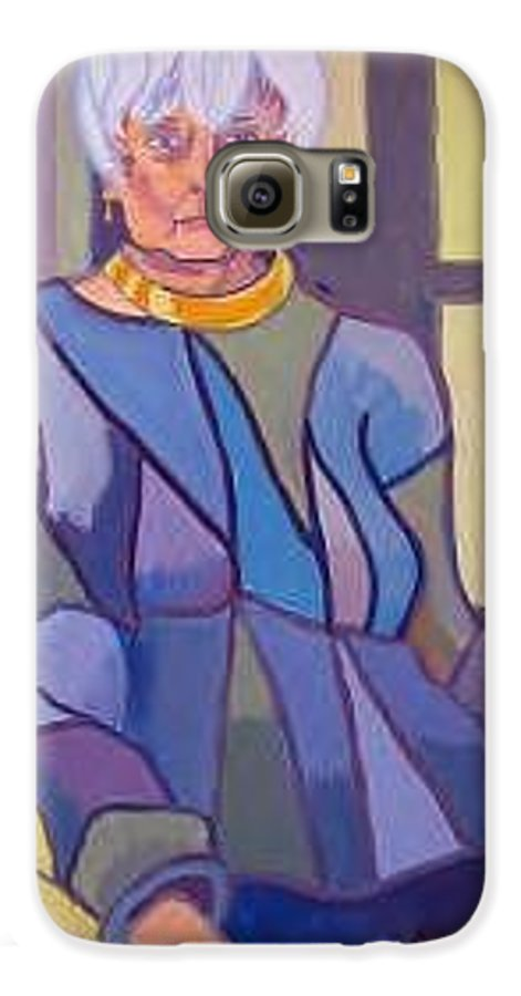 Mature Woman Sitting In A Chair Galaxy S6 Case featuring the painting Mrs. Edith Lipton by Debra Bretton Robinson