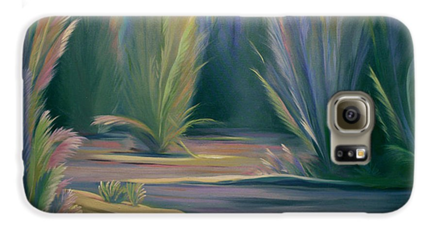 Feathers Galaxy S6 Case featuring the painting Mural Field Of Feathers by Nancy Griswold