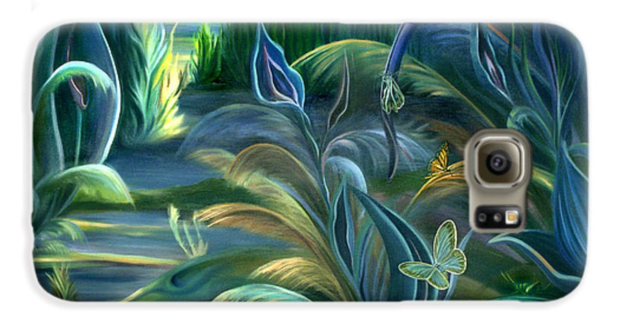 Mural Galaxy S6 Case featuring the painting Mural Insects Of Enchanted Stream by Nancy Griswold