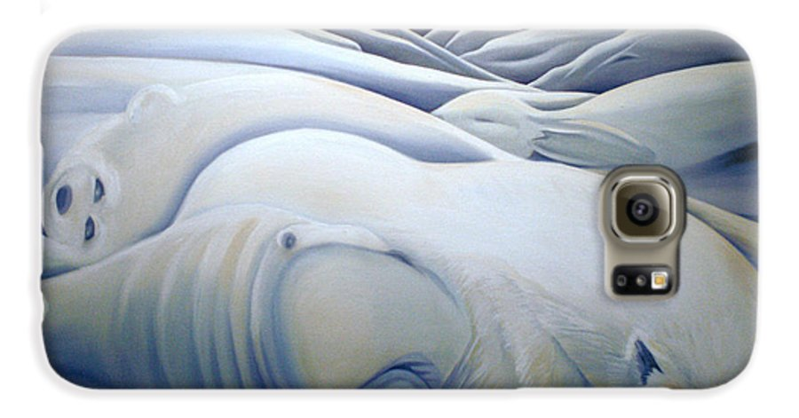 Mural Galaxy S6 Case featuring the painting Mural Winters Embracing Crevice by Nancy Griswold