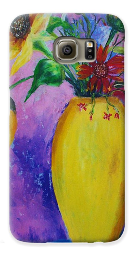Sunflowers Galaxy S6 Case featuring the painting My Flowers by Melinda Etzold