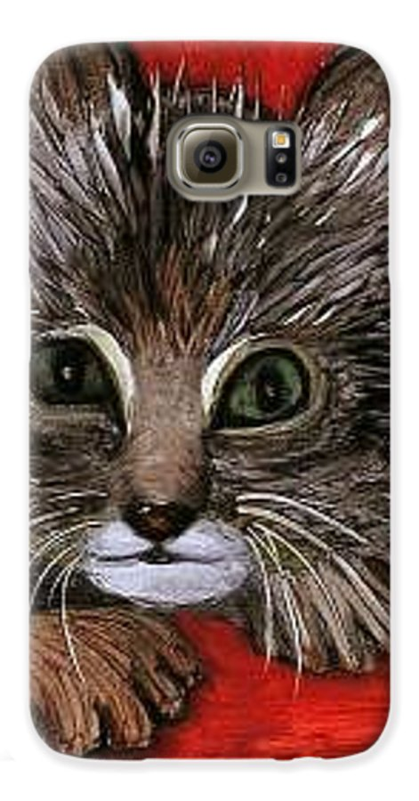 Very Curious And Beautiful Kittie Cat Galaxy S6 Case featuring the painting My Kittie Cat by Pilar Martinez-Byrne