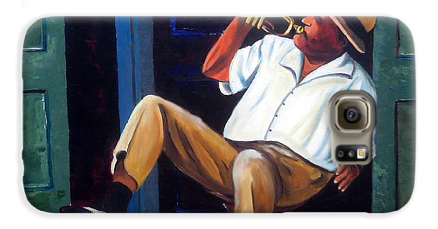 Cuba Art Galaxy S6 Case featuring the painting My Trumpet by Jose Manuel Abraham
