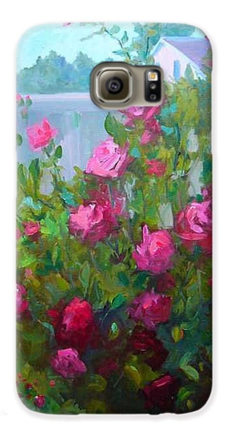 Climing Red Roses On Fence Galaxy S6 Case featuring the painting Myback Yard Roses by Patricia Kness