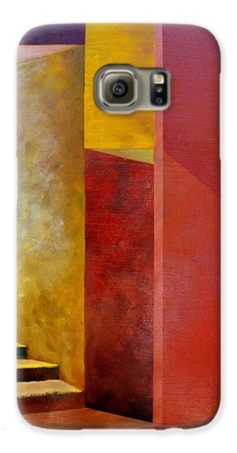 Gold Galaxy S6 Case featuring the painting Mystery Stairway by Michelle Calkins