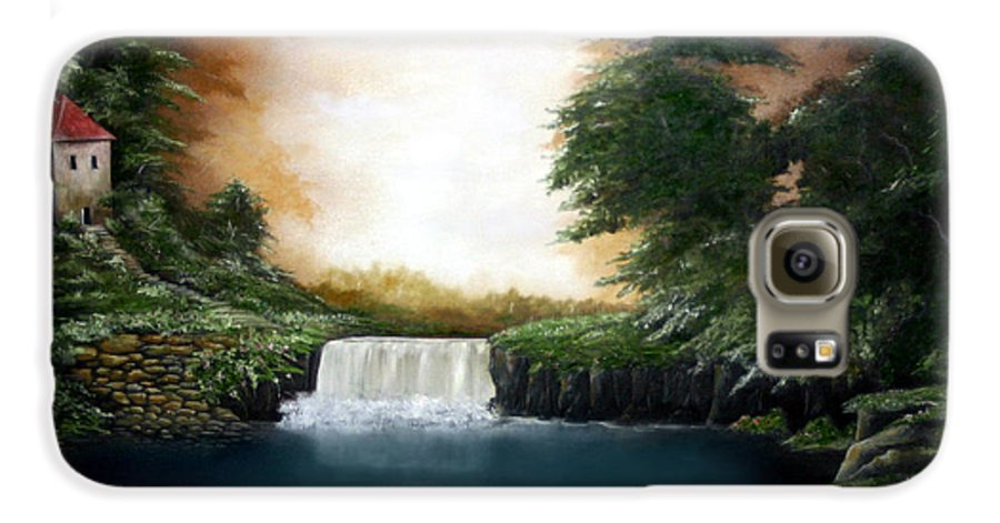 Falls Galaxy S6 Case featuring the painting Mystical Falls by Ruben Flanagan