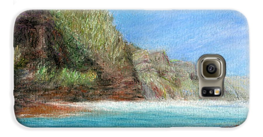 Rainbow Colors Pastel Galaxy S6 Case featuring the painting Na Pali by Kenneth Grzesik