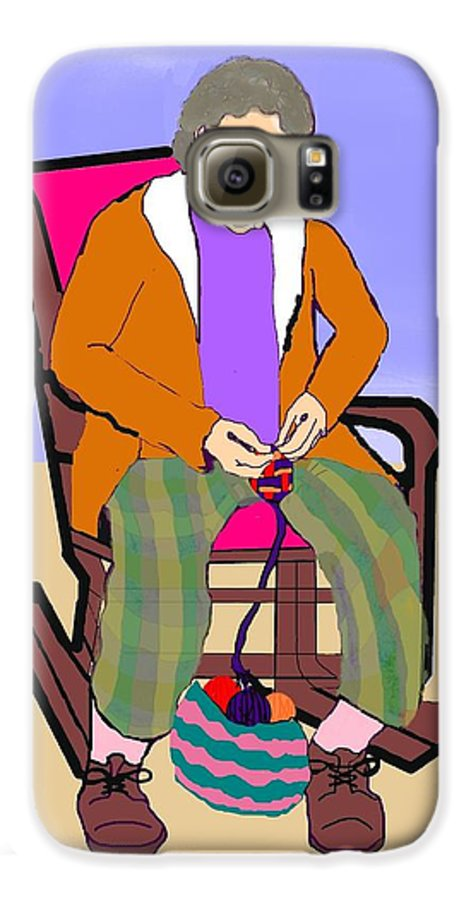Grandmother Galaxy S6 Case featuring the digital art Nana Knitting by Pharris Art