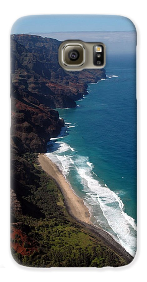 Hawaii Galaxy S6 Case featuring the photograph Napali Cliffs by Kathy Schumann