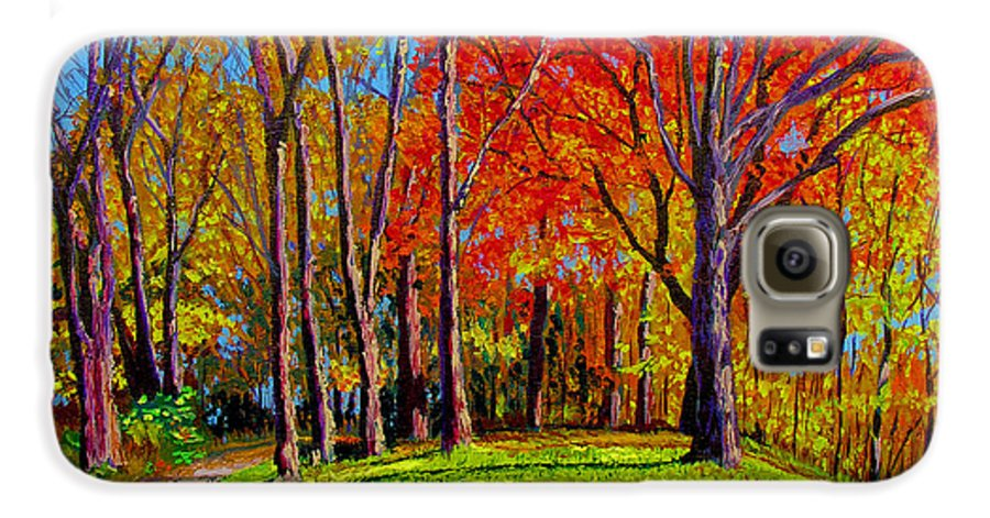 Trees Autumn Hill Grass Sunshine Shadows Sky Colors Path Galaxy S6 Case featuring the painting Nashville North by Stan Hamilton