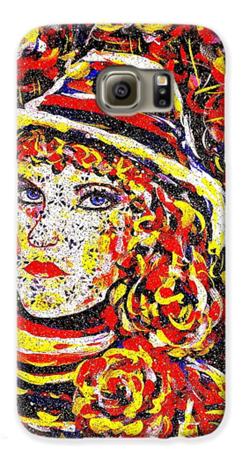 Woman Galaxy S6 Case featuring the painting Nat With The Hat by Natalie Holland